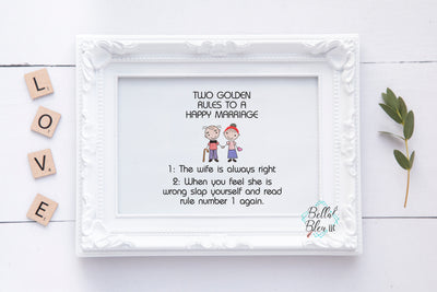 Golden Rule to Happy Marriage Saying Wedding Anniversary Embroidery Sketchy design
