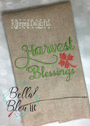 Fall Harvest Blessings machine embroidery design