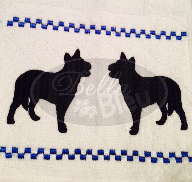 Faux Smocking Australian Blue Healer Dog Machine Embroidery Design
