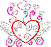 Valentines Heart with Wings Outline Machine Embroidery Design