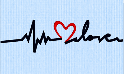 EKG Heartbeat of  love machine embroidery design