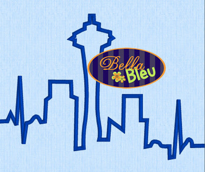 EKG Heartbeat of the Seattle Skyline machine embroidery design