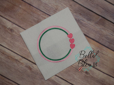 Valentines Circle Frame  Machine Embroidery Monogram circle 7x7
