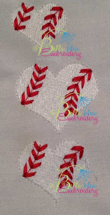 Heart shaped Baseball Softball Embroidery Filled mini designs