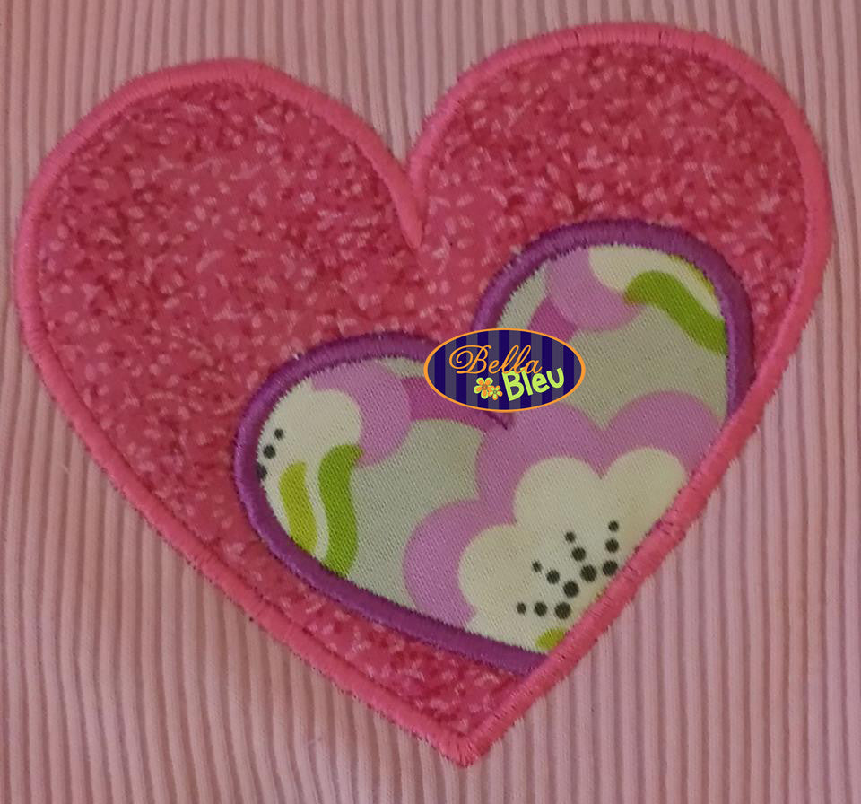 Applique Valentine's Day Double Heart Applique Embroidery Design