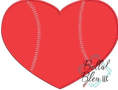 Heart with Baseball Softball Stitches Applique