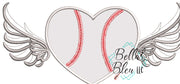 Baseball Softball Heart with Wings Applique