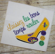 Sexy Mardi Gras Heels Heel Stiletto Applique Embroidery Design