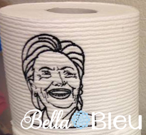 Funny Political Hillary Clinton Toilet Paper Machine Embroidery Design Democrat Embroidery Design