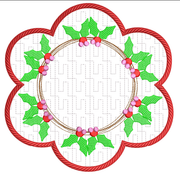 Sketchy Holly Wreath Holiday Candle Mat In the hoop ITH 8x8 hoop