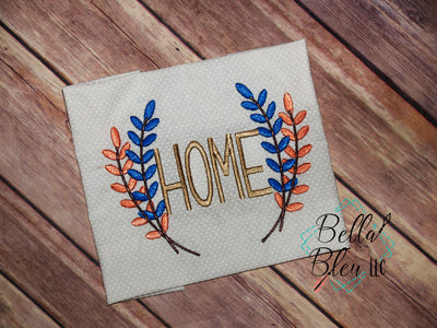 Home with Branch Saying Machine Embroidery 4x4