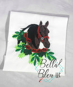 Christmas Horse with Wreath filled Machine Embroidery design