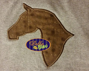 Regal Horse Head Silhouette Machine Applique design