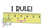 I Rule Sketchy Ruler back to school machine embroidery design