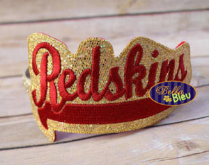 ITH in the hoop Redskins Sports Headband Slider Topper machine embroidery