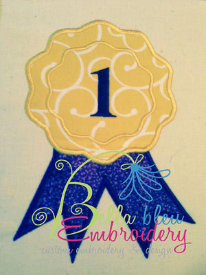 Applique Fair 1st Place Ribbon Monogram Machine Embroidery Design