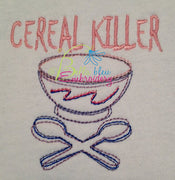 Cereal Killer Outline with Cross Spoons Machine Embroidery Design Geeky
