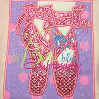 Ballerina Ballet Shoes Applique Embroidery Designs Design Princess