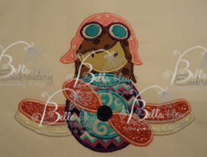 Airplane with Girl Pilot Flyer  Applique Embroidery Design