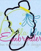 Bella Princess Silhouette Applique Embroidery Designs Design