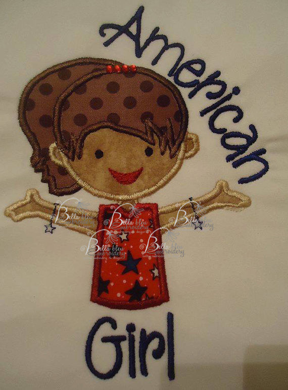 Girl wearing Loom Bracelets Machine Applique Embroidery Designs