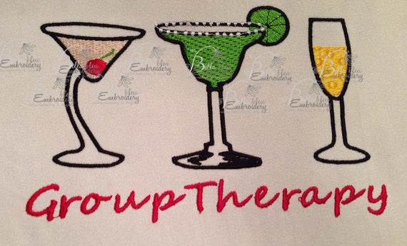 Funny Wine Embroidery Design, Cocktails Wine Embroidery Design, Group Therapy Machine Embroidery Design