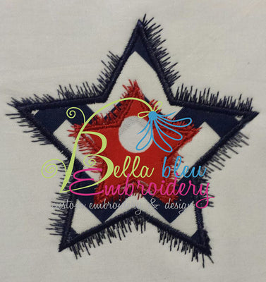 Double Star Monogram Applique Embroidery Designs Design 4th of July