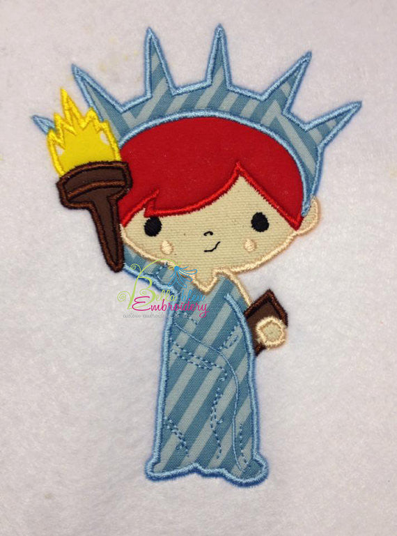 Mr. Liberty 4th of July Applique Embroidery Design Monogram Statue