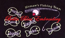 Applique Summer Sea School of fish and fishing rod Embroidery Applique Design