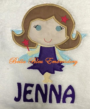 Girl Fairy Applique Embroidery Design with Wings