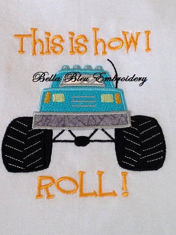 Boys Monster Truck Applique Embroidery Design 3 Sizes Bella Bleu