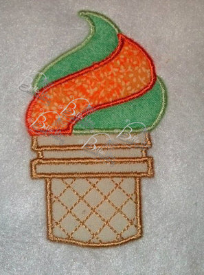 Swirl Ice Cream Cone Applique Embroidery Designs Design 3 sizes