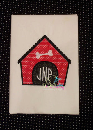 Monogram Dog House Applique Machine Embroidery Design