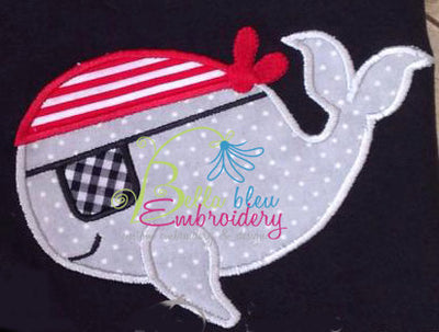 Argh Pirate Whale Applique Embroidery Design Instant download