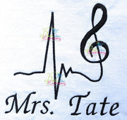 EKG Heartbeat heart beat music fill machine Embroidery Designs
