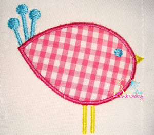 Modern Little Bird Applique and Fill Embroidery Designs Design 4 sizes