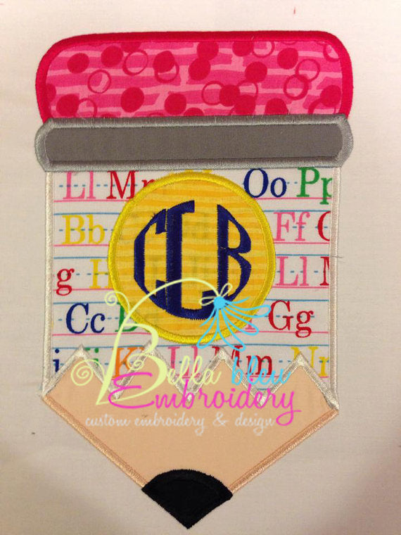 Back to School Monogram Chubby Pencil Applique Embroidery Designs