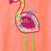 Flamingo Bird Applique and Fill Embroidery Designs Design 4 sizes