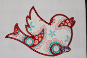 Blue Bird Outline Silhouette Applique and Fill Embroidery Designs Design