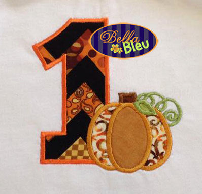 One First Fall Pumpkin Birthday Party Embroidery Applique