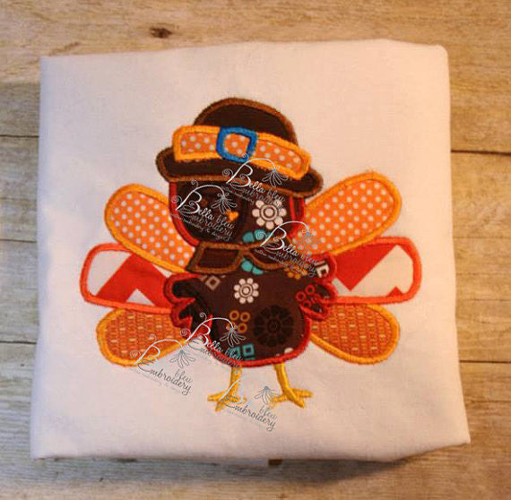 Cute Turkey Thanksgiving Machine Applique Embroidery Design with feathers and pilgrim hat