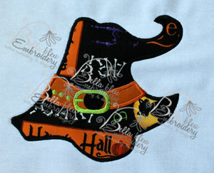 Halloween Witch Witches Hat Machine Applique Embroidery Design