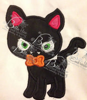 Halloween Vampire Kitty Cat Machine Applique Embroidery Design