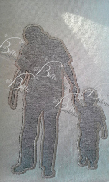 Father and Son Silhouette Applique Machine Embroidery Design Father's Day