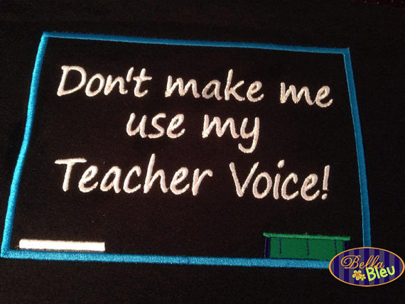 Back to School Teacher Voice Chalkboard Applique Embroidery Design