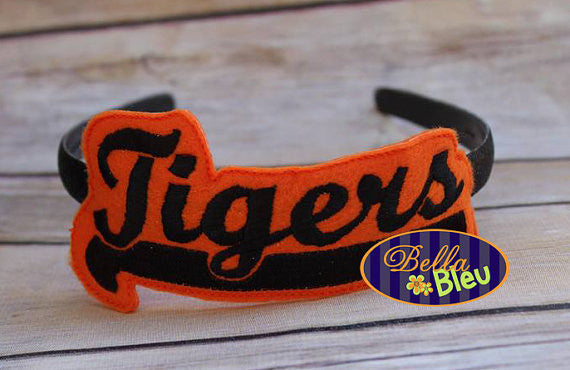 ITH in the hoop Tigers Sports Headband Slider Topper machine embroidery