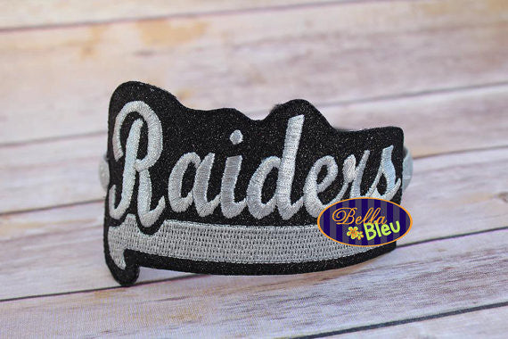 ITH in the hoop Raiders Sports Headband Slider Topper machine embroidery