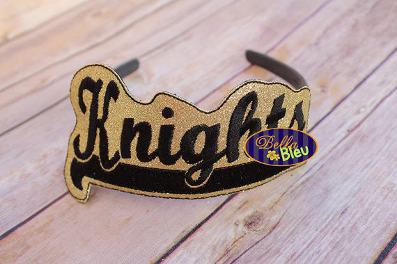 ITH in the hoop Knights Sports Headband Slider Topper machine embroidery