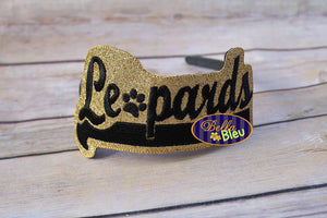 ITH in the hoop Leopards Sports Headband Topper Slider machine embroidery