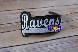 ITH in the hoop Ravens Sports Headband slider Topper machine embroidery